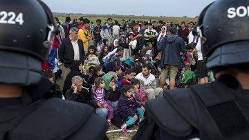Мигранты из Сирии после пересечения границы Венгрии и Сербии