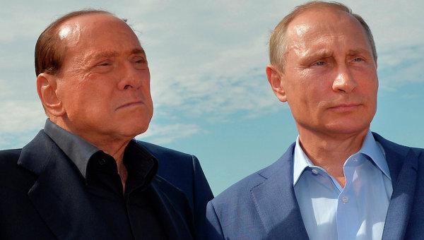 Президент России Владимир Путин и экс-председатель Совета министров Италии Сильвио Берлускони. Архивное фото