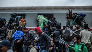 Мигранты и беженцы на станции Товарник, расположенной в Хорватии на границе с Сербией