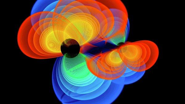 Так художник представил себе сливающиеся черные дыры и вырабатываемые ими гравитационные волны. Архив
