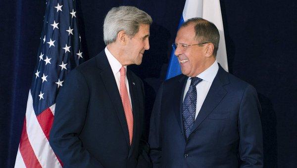 Встреча главы МИД РФ Сергея Лаврова и госсекретаря США Джона Керри на полях ГА ООН