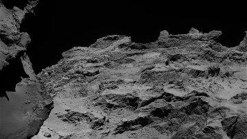 Фотографии одного из регионов кометы, на котором можно увидеть слои ее «луковиц»