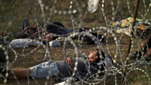 Мигранты из Афганистана на границе Венгрии и Сербии. Архивное фото