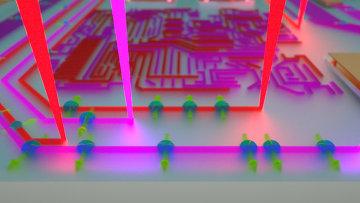 Так художник представил себе лучи ультрафиолета, рисующие транзисторы