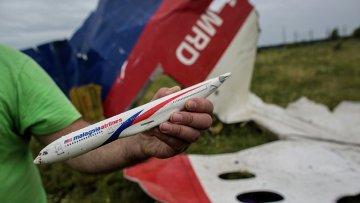 Мужчина демонстрирует модель разбившегося самолета, найденную на месте крушения лайнера Boeing 777. Архивное фото