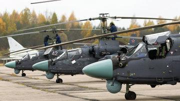 Вертолеты Ка-52 Аллигатор на летно-тактических учениях армейской авиации Западного военного округа в Псковской области. Архивное фото