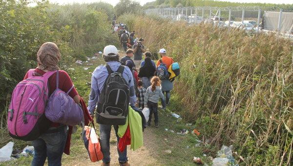 Беженцы, не успевшие перейти на венгерскую сторону, бредут вдоль границы . Архивное фото