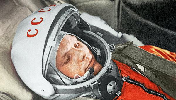 """Летчик-космолнавт Ю.Гагарин в кабине космического корабля """"Восток"""". Архивное фото"""