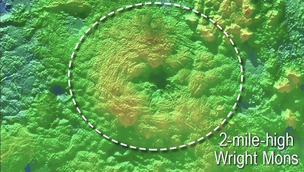 Предположительные вулканы на поверхности Плутона, расположенные на равнине Спутника