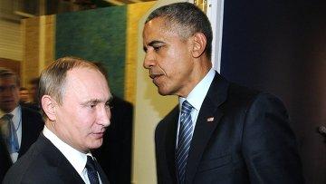 Президент России Владимир Путин и президент США Барак Обама на полях климатической конференции ООН