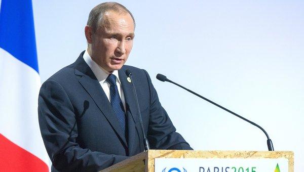 Президент России Владимир Путин на климатической конференции ООН в Париже