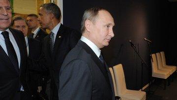 Президент России Владимир Путин и президент США Барак Обама на климатической конференции ООН в Париже