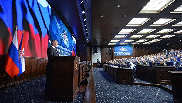 Президент РФ Владимир Путин принял участие в расширенном заседании коллегии Минобороны РФ