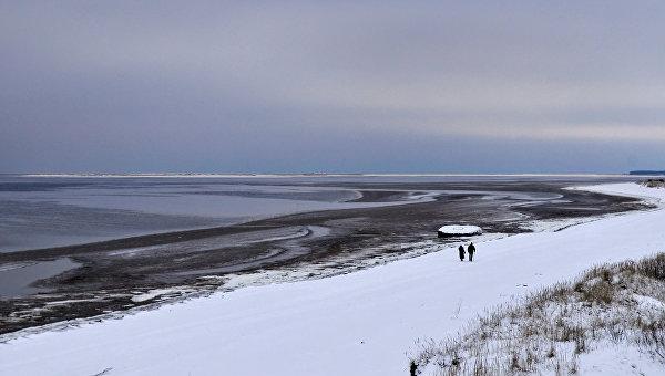 Побережье Белого моря в окрестностях Северодвинска. На дальнем плане остров Ягры. Архивное фото