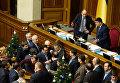 Первый заместитель председателя Верховной Рады Украины Андрей Парубий и председатель Верховной Рады Украины Владимир Гройсман на заседании Верховной Рады Украины