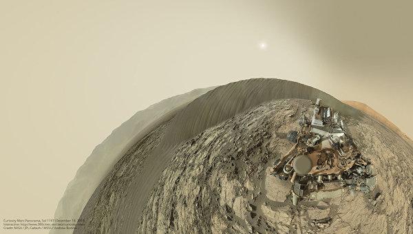 Панорамная фотография спины марсохода