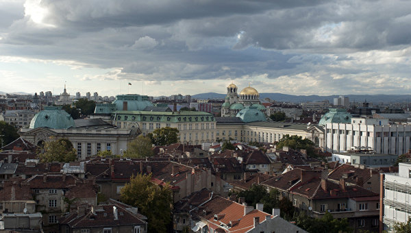 Вид на город София, Болгария. Архивное фото