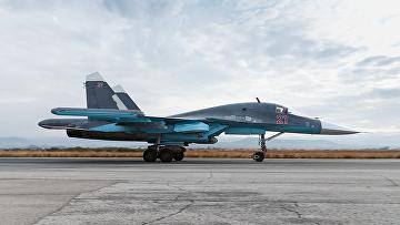 Су-34 ВКС РФ на авиабазе Хмеймим, Сирия. Архивное фото