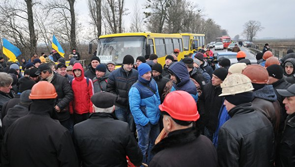 Шахтеры перекрыли трассу во Львовской области