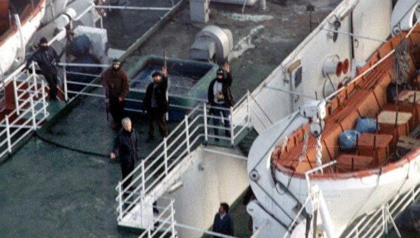 Захваченный террористами паром Аврасия в черноморском порту Трабзон