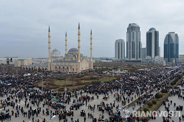 Митинг В единстве наша сила в поддержку главы Чечни Рамзана Кадырова в Грозном