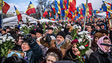 Участники акции протеста оппозиции в Кишиневе. Архивное фото