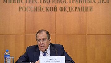 Министр иностранных дел России Сергей Лавров на пресс-конференции в Москве по итогам 2015 года