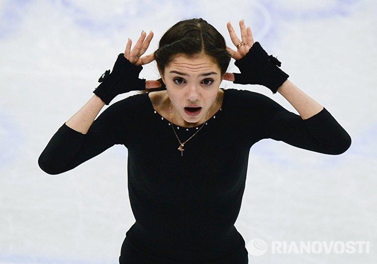 Евгения Медведева (Россия) на тренировке перед началом соревнований на чемпионате Европы по фигурному катанию в Братиславе