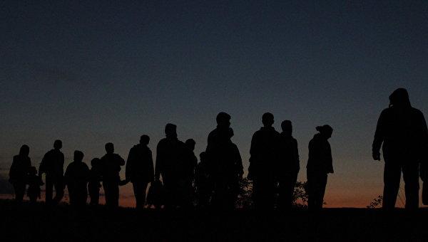 Беженцы переходят границу Сербии и Венгрии в районе поселка Реске