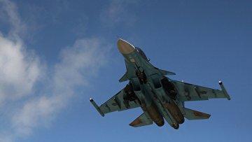 Российский истребитель-бомбардировщик Су-34 в Сирии. Архивное фото