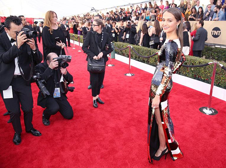Шведская актриса Алисия Викандер. 22-я церемония вручения премии Гильдии киноактёров США. Январь 2016