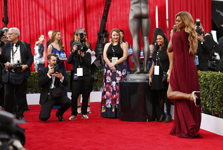 Американская актриса Лаверна Кокс. 22-я церемония вручения премии Гильдии киноактёров США. Январь 2016