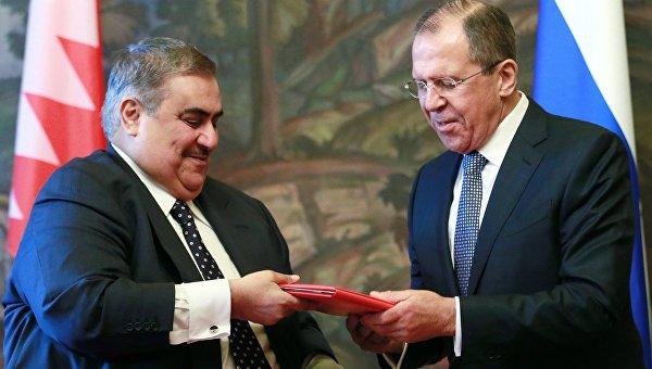 Встреча глав МИД РФ и Королевства Бахрейн Сергея Лаврова с Халеа Аль Халифой