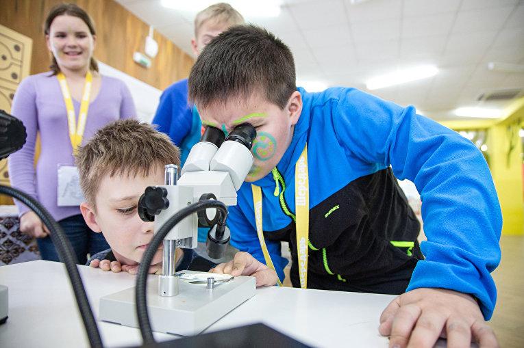 Мальчики исследуют листья деревьев и пыльцу растений на мастерской Микромир