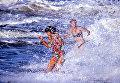 Две девушки купаются в Черном море