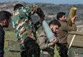 Артиллеристы сирийской армии на позициях в провинции Идлиб на северо-западе Сирии