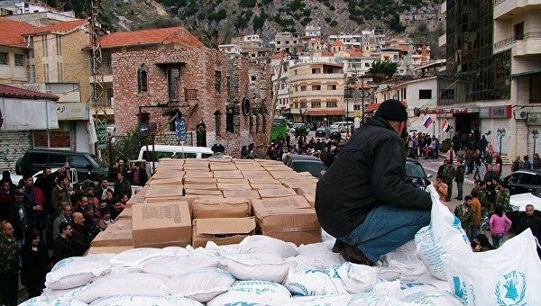Российская гуманитарная помощь доставлена в сирийскую Латакию. Архивное фото
