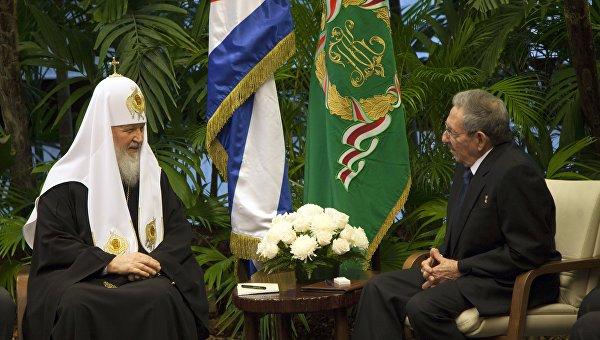Патриарх Московский и всея Руси Кирилл и председатель Госсовета Кубы Рауль Кастро во Дворце Революции в Гаване