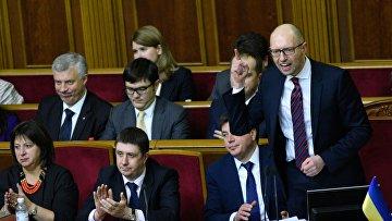 Арсений Яценюк на заседании Верховной Рады Украины в Киеве 16 февраля 2016 года
