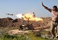 Ракетный залп проправительственных формирований. Возле города Киркук, Ирак