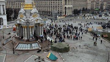 Протестующие на Майдане в Киеве. Февраль 2016