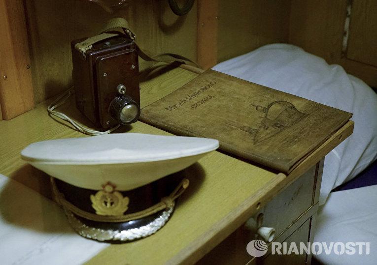 Спальное место члена экипажа офицерского состава на подводной лодке Б-413 проекта 641, являющейся экспонатом Музея Мирового океана в Калининграде