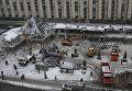 """Сотрудники коммунальных служб сносят торговый центр """"Пирамида"""" на Пушкинской площади в Москве"""