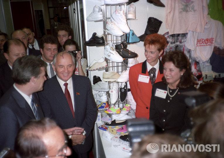 Михаил Горбачев на выставке американских товаров и технологий США-89: возможности делового сотрудничества на Красной Пресне