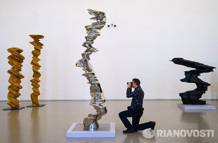 Работы британского скульптора Тони Крэгга на пресс-показе выставки Тони Крэгг. Скульптура и рисунки в Главном Штабе Государственного Эрмитажа