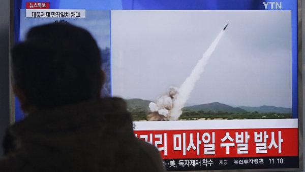 Кадры видео с запуска КНДР ракет