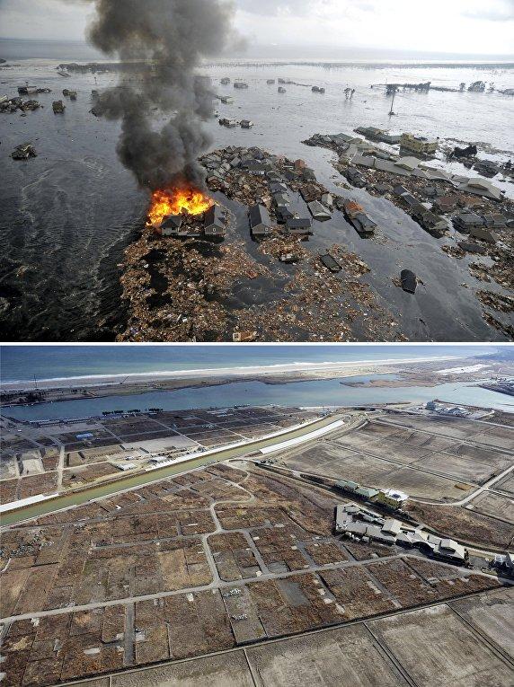 Снимок последствий цунами 11 марта 2011 (вверху) и снимок 15 февраля 2016 (внизу) в Японии