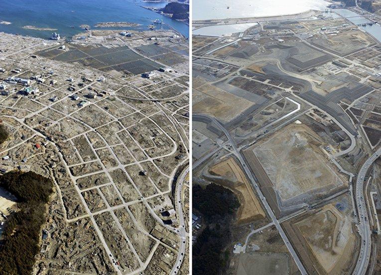Снимок последствий цунами 5 апреля 2011 (слева) и снимок 16 февраля 2016 (справа) в Японии