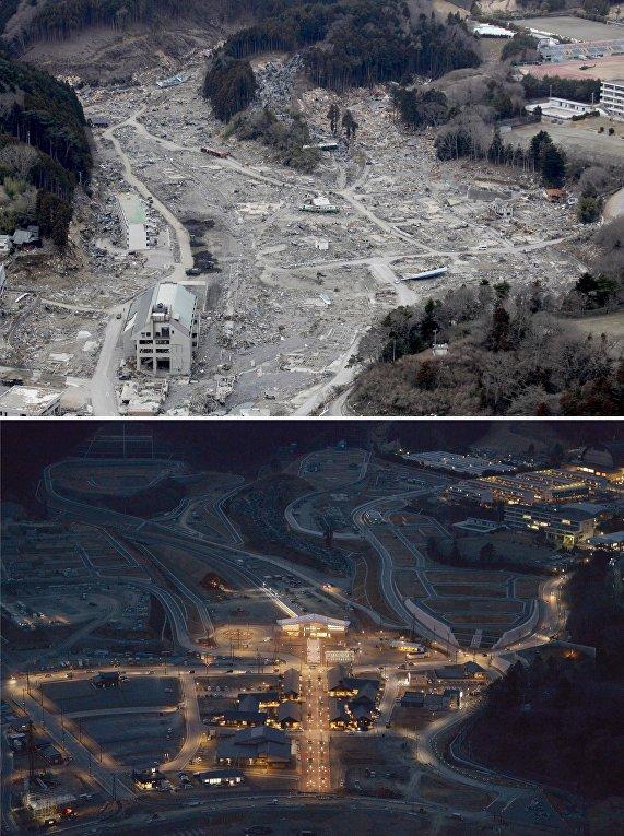 Снимок последствий цунами 22 марта 2011 (вверху) и снимок 4 марта  2016 (внизу) в Японии