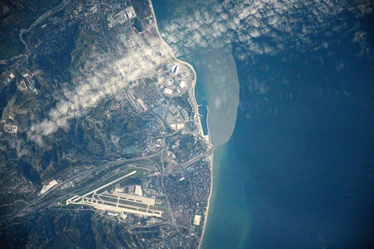 Вид на город Сочи снятый с Международной космической станции